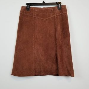 New Neiman Markus brown suede leather mini skirt